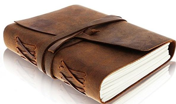 Antique Handmade Leather Bound Daily Notepad