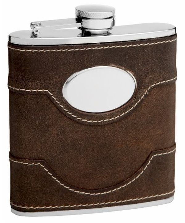 Brown Leather Hip Flask with Free Personalization