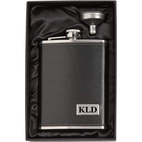 Engraved 8oz Leather Wrapped Stainless Steel Hip Flask