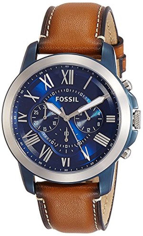 Fossil Mens Grant Quartz Stainless Steel and Leather Chronograph Watch
