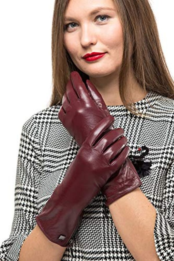 Long Sleeve Leather Zipper Gloves for Women