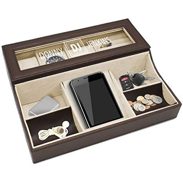 Personalized Leather Valet Tray Box