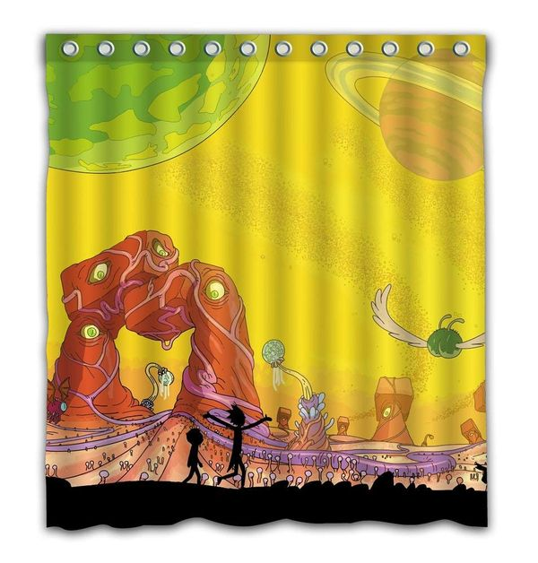 Rick and Morty shower curtain merch 2